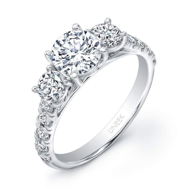 Uneek Round Diamond Three Stone Engagement Ring With Pave Upper Shank In 14K White Gold