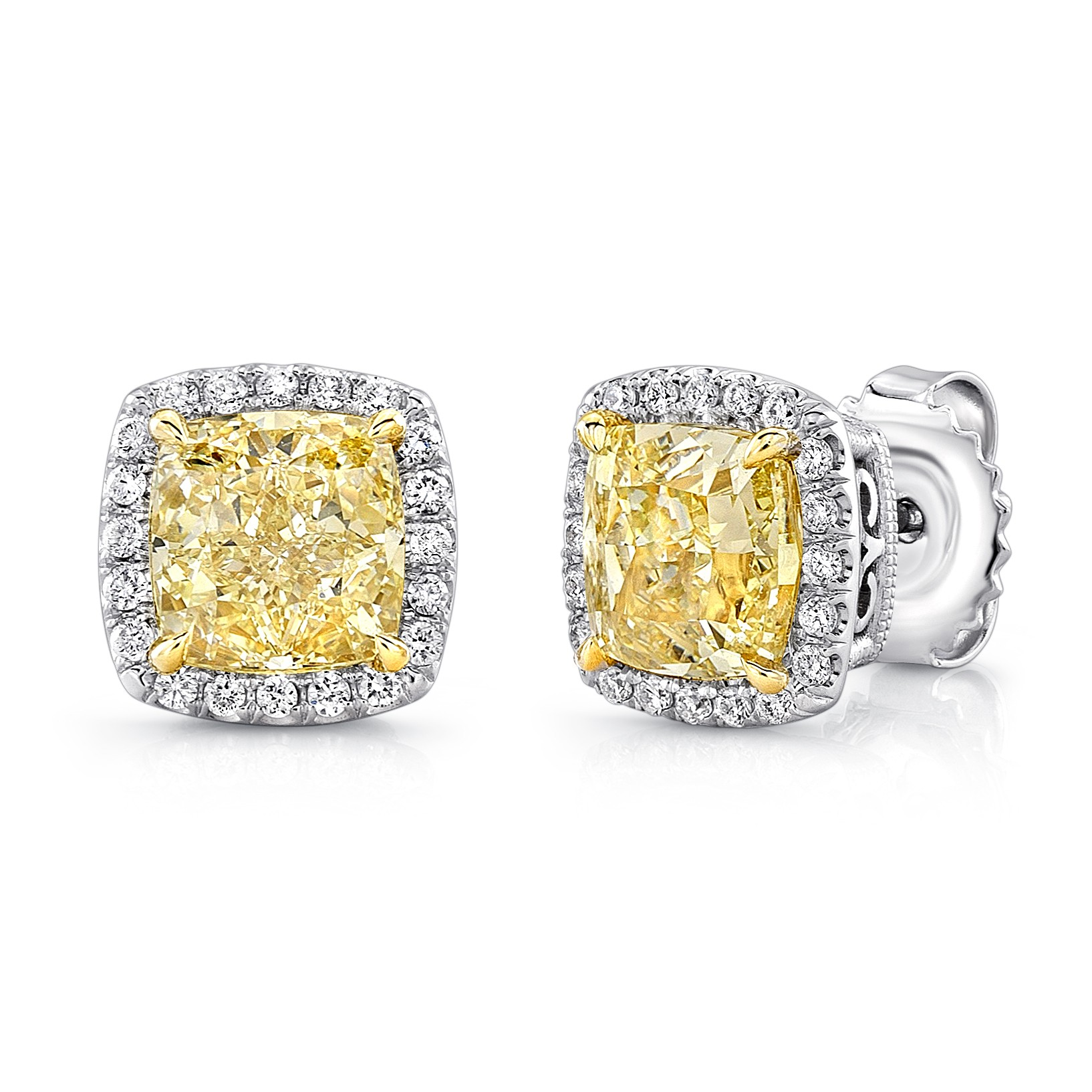 Uneek Cushion Yellow Diamond Halo Stud Earrings In 18k White And Gold