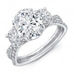 """Oval Diamond Three-Stone Engagement Ring with Pave """"Silhouette"""" Double Shank from Uneek"""