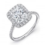 Uneek Radiant-Cut Diamond Halo Engagement Ring with Ornate Gallery, in Platinum