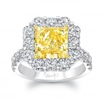 Uneek Cushion-Cut Yellow Diamond Ring with Scallop-Style Round Diamond Halo, in Platinum and 18K Yellow Gold