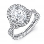 """Uneek Oval Diamond Halo Ring with """"Silhouette"""" Double Shank and Flared Pavé Shoulders, Platinum"""