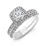 Classic Round-Diamond-on-Cushion-Halo French Cut Engagement Ring, in 14K White Gold, shown with band