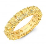 Uneek Cushion Cut Fancy Yellow Diamond Eternity Band, in Yellow Gold
