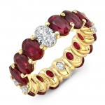 Uneek Oval Ruby and Oval Diamond Eternity Band, Yellow Gold