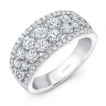 "Uneek ""Frivolité"" 4-Row Diamond Band with Pave Edges, 14K White Gold"