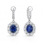 Uneek Oval Blue Sapphire Dangle Earrings with Scallop-Effect Diamond Halos