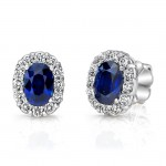 Uneek Oval Blue Sapphire Stud Earrings with Scalloped Diamond Halos
