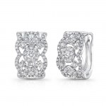 "Uneek ""Valenciennes de Ghent"" Open Lace Diamond Huggie Hoop Earrings in 14K White Gold"