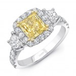 Uneek Contemporary Princess-Cut Yellow Diamond Center Three-Stone Engagement Ring, in Platinum and 18K Yellow