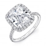 Uneek LVS787CU Cushion-Cut Diamond Halo Engagement Ring