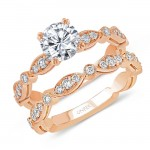 Uneek Round Diamond Bridal Set with Milgrain-Trimmed Marquise-Shaped Clusters and Round Bezel Stations, Rose Gold