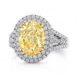 Uneek SM816 4-Carat Oval Fancy Yellow Diamond Ring