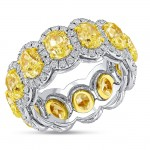 Uneek Oval Yellow Diamond Eternity Band with Round Diamond Halos, 18K Gold