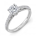 """""""Naiade"""" Vintage-Inspired Round Diamond Engagement Ring from Uneek"""