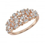 Uneek Diamond Ring with Baguette and Princess Diamonds, in 14K Rose Gold - LVBAD274R