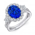 Uneek Oval Blue Sapphire Ring with Round Diamond Halo and Trapezoid Diamond Sidestones