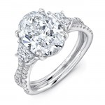"Oval-Center Classic Three-Stone Engagement Ring with Pave ""Silhouette"" Shank from Uneek"