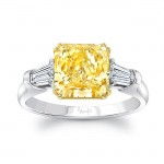 Uneek Radiant Fancy Yellow Diamond Engagement Ring, in Platinum