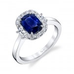 Uneek Cushion Blue Sapphire Engagement Ring, in 18K White Gold
