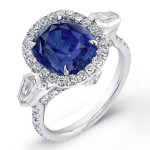 Platinum Sapphire Cushion Diamond Ring LVS621
