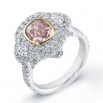 Natureal Collection Platinum Pink Cushion Diamond Ring LVS645