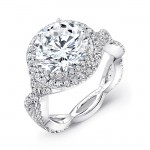 Uneek LVS842 Double Halo Engagement Ring with Crisscross Double Shank