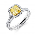 Uneek LVS913 Fancy Yellow Diamond Engagement Ring