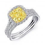 Uneek Cushion-Cut Yellow Diamond Halo Engagement Ring with Pave Triple Shank, in Platinum and 18K Yellow
