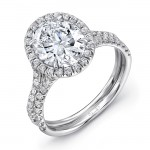 Uneek Oval Engagement Ring, in 14K White Gold