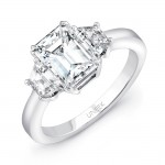 Uneek Three Stone Emerald Cut Diamond Engagement Ring-LVS956