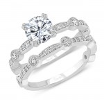 Uneek Round Diamond Bridal Set with Milgrain-Trimmed Pave Bars and Bezel Station Accents, White Gold