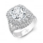 Uneek Cushion-Cut Diamond Multi-Halo Engagement Ring, 18K White Gold