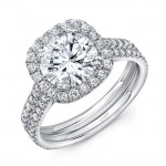 Uneek Round-Diamond-on-Cushion-Halo Engagement Ring with Pavé Double Shank, 14K White Gold