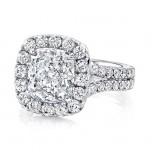Uneek 3-Carat Cushion-Cut Diamond Halo Ring with French Pave Halo and Double Shank, 18K White Gold