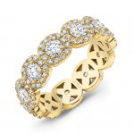 Uneek Round Diamond Eternity Band with Halo Details, Yellow Gold