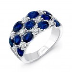 Uneek Three-Row Oval Blue Sapphire and Round Diamond Band
