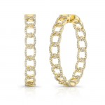 "Uneek ""La Mirada"" Inside-Out Diamond Hoop Earrings, Yellow Gold version"