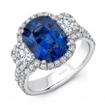 Uneek Sapphire-Center Three-Stone Ring with Radiant Diamond Sides