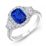 Uneek Cushion Sapphire-Centered Three-Stone Engagement Ring with Trapezoid Diamond Sidestones