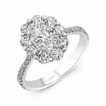 Uneek Oval Diamond Engagement Ring with Scallop-Inspired Shared-Prong Round Diamond Halo