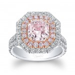 Uneek Square Light Pink Diamond Diamond Ring with Split Upper Shank and Two-Tone Double Halo, 18K Gold