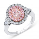 Uneek Oval Pink Diamond Ring with Two-Tone Double Halo, Shield-Shaped Diamond Sidestones, and Rose Gold Filigree Gallery
