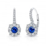 Uneek Round Blue Sapphire Leverback Earrings with Diamond Halos, 18K White Gold