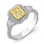 Uneek Estate-Inspired Three-Stone Ring with Radiant-Cut Fancy Yellow Diamond Center and Shield-Cut Diamond Sidestones