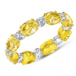 Uneek Oval Yellow Diamond and Round Colorless Diamond Eternity Band, 18K Gold