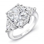 Uneek Three-Stone Diamond Ring with 6-Carat Radiant-Cut Center, Platinum