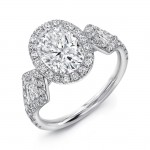 Uneek Three-Stone Ring with Oval Diamond Center and Kite-Shaped Sidestones, Platinum