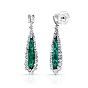 Uneek Pear Shaped Indicolite Tourmaline Earrings, in 18K White Gold