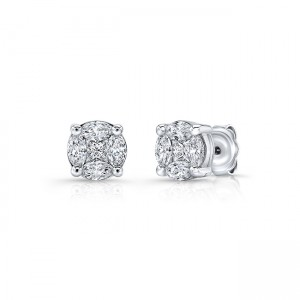Uneek Diamond Stud Earrings, in 14K White Gold